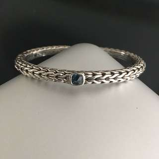 John Hardy Silver Bangle Bracelet with Blue Travorsite