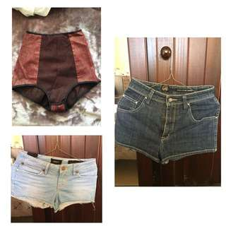 MINI SHORTS $3 EACH LEE HIGH WAIST DARK DENIM 8 INSIGHT MID WAISTED 6 AND HOT PANTS XS
