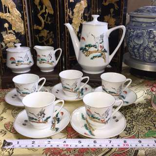 Longevity Crane Motif Coffee Set