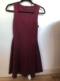 Burgundy dotti dress