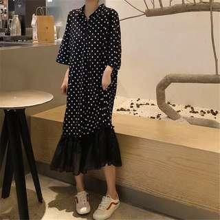 Minimei追加款✪韓系韓版百搭休閒 懶人備波點拼接裙擺寬鬆連衣裙