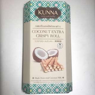 泰國椰子酥卷 Thai Snack KUNNA Coconut Extra Crispy Roll Made from Real Coconut Milk 70g