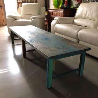 碧湖藍色實木 茶几🍵泡茶桌 W198 D60 H41