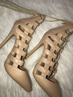 Marco Gianni nude lace up heels