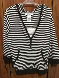 Preloved Stripes Hoodie - Brown/white