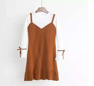 Knitted Brown Fake Two Piece Slip On Dress