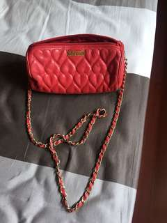 MOSCHINO Red Heart Quilted Chain Sling Bag