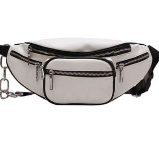 White Faux Leather Fanny Pack Belt Bag