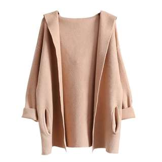 Oversized Knitted Coat in Nude