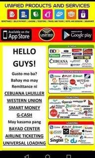 Bayad Center, Western Union, Cebuana, Smart Padala, Travel n Tours
