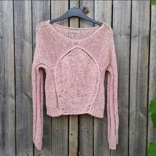 Hunkydory stockholm crochet knit pink sweater jumper fit 6-8