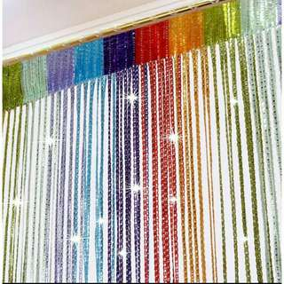 Silver string curtain