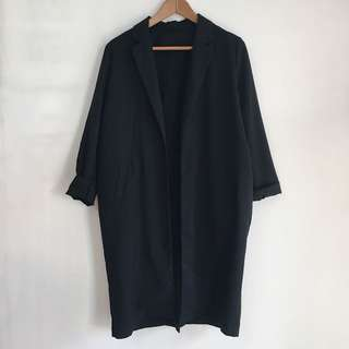 Long Black Spring Coat (no thick lining)