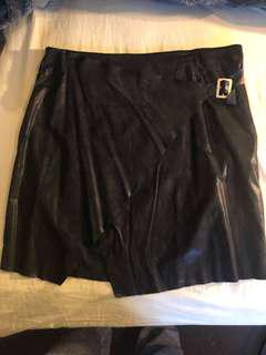 Faux Leather wrap around skirt with buckle