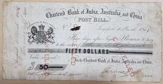 1859 $50 Post Bill Chartered Bank India Australia China Straits