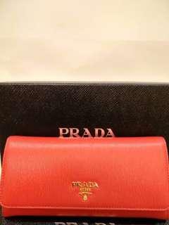 🚚 PRADA 金色 Logo 長夾 紅色 全新 法國購入