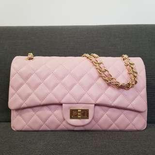 粉紅色菱格條鏈手袋