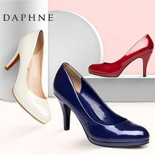 🚚 Daphne/達芙妮春款OL通勤高跟鞋尖頭細跟時尚漆皮亮面優雅單鞋清倉 挑戰最低價 任選3雙免運費