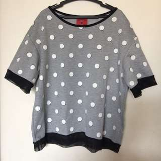 [BENCH] Plus Size Gray Polka-dotted Blouse