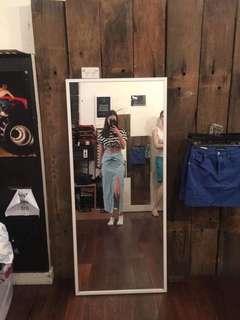 Neon Blonde long high waisted twist split skirt