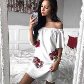 bn floral embroidery off shoulder dress