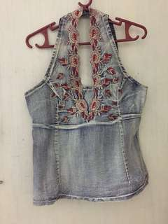 Pre-Loved. FREEWAY Denim Halter Top with Embroidered Red Flowers