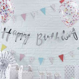 Happy Birthday Bunting Banner Silver