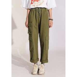 🚚 綠色直筒工裝褲