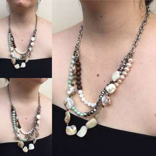 Handmade Pearl, Shell and Wood Necklace