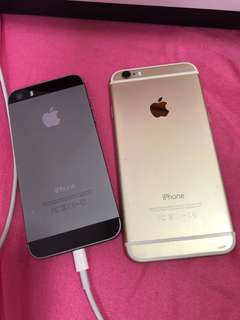 iPhone 5 Space Grey & iPhone 6 Gold