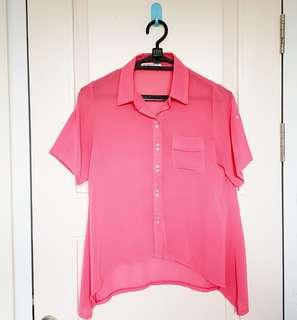 Kemeja pink merah muda import china