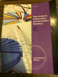 Data Analysis, Optimization, and Simulation Modeling (4th edition)
