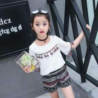 🚚 💟韓版波西米亞簡約大童套裝💟$590 💟#顏色:白色,粉色💟 💟#尺寸:120.130.140.150.160💟