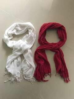 Cotton On White Scarf & Rubi Red Scarf