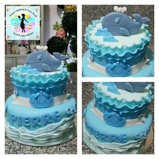 2-Layer Baby Whale Theme Fondant Cake