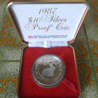 1987 Singapore Lunar Year of the Rabbit $10 Silver Proof Coin