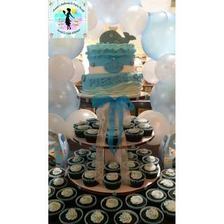 Baptismal Party Package: Fondant Cake & Cupcake Tower with Balloon Arch