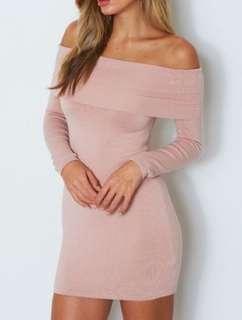 White Fox Boutique Blush Off-Shoulder Dress