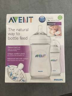 Avent Natural milk feeding bottle 260ml x 2