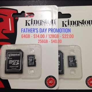 64GB/128GB/256GB Kingston Memory Card Class 10 , PROMOTION!