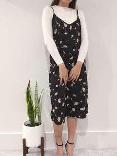 Floral slip dress - black