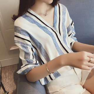 Uzzang blue and white longsleved top