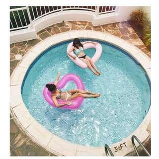 全新瑩光粉紅心形水泡 Neon Pink Pool Float Heart Shape Selling Online Los Angeles Brand USD 24 New Swim Ring Summer Fun