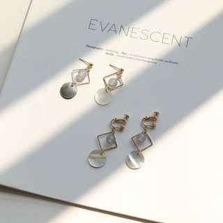 🚚 [首爾x印象]復古幾何貝殼償款耳環