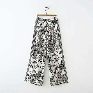 🚚 歐美風夏季新款時尚百搭高腰繫帶側邊帶飾印花休閒褲長褲