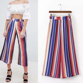2018 Spring/Summer New Europe Station Color Stripe Wide Leg Pants Women's Trousers