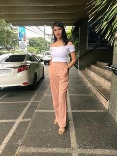 Blush Pink Wide Leg Trouser