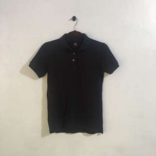 Uniqlo Black Stretch Pique Polo