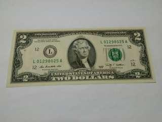 美金2003年2元 L 01298025 A (因罕有成為收藏品或送禮)
