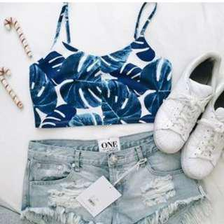 FREE POS TOPSHOP TROPICAL PALM PRINT CROP TOP